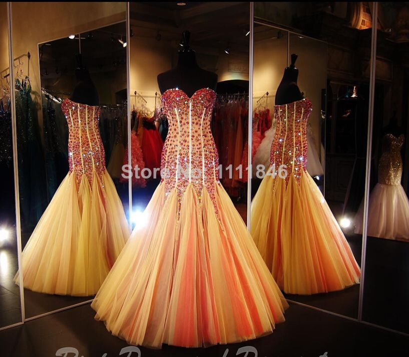 Sexy vestido de festa 2014 Amazing Stones Bodice Tulle Piece Mermaid Prom Dresses Backless Custom Made $398.25