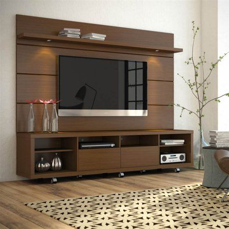 Contemporary TV Entertainment Center in Nut Brown - Walmart.com