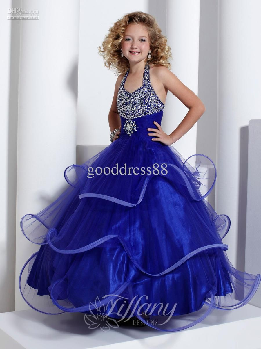Royal Blue Halter Ruffled Organza Beaded Ball Gown Flower Girl ...