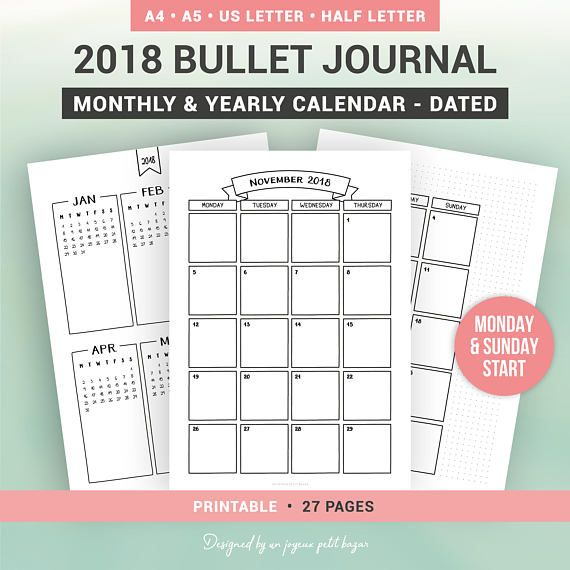 Bullet Journal Printable Monthly And Yearly Calendar