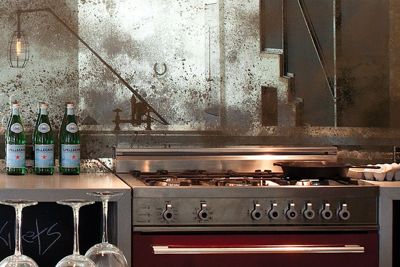 Antique Patina Mirrors Make For An Unexpected Backsplash