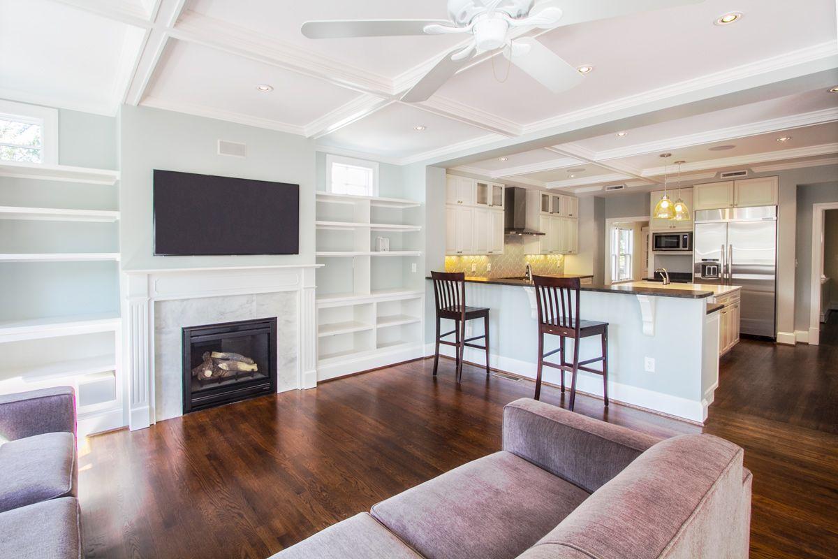 Open family room/kitchen. Jacobean floor stain, Heat n\' Glo gas ...