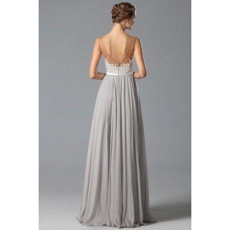 b7a6f3b4473 Překrásné sexy společenské šedé šaty s průsvitným krajkou zdobeným živůtkem