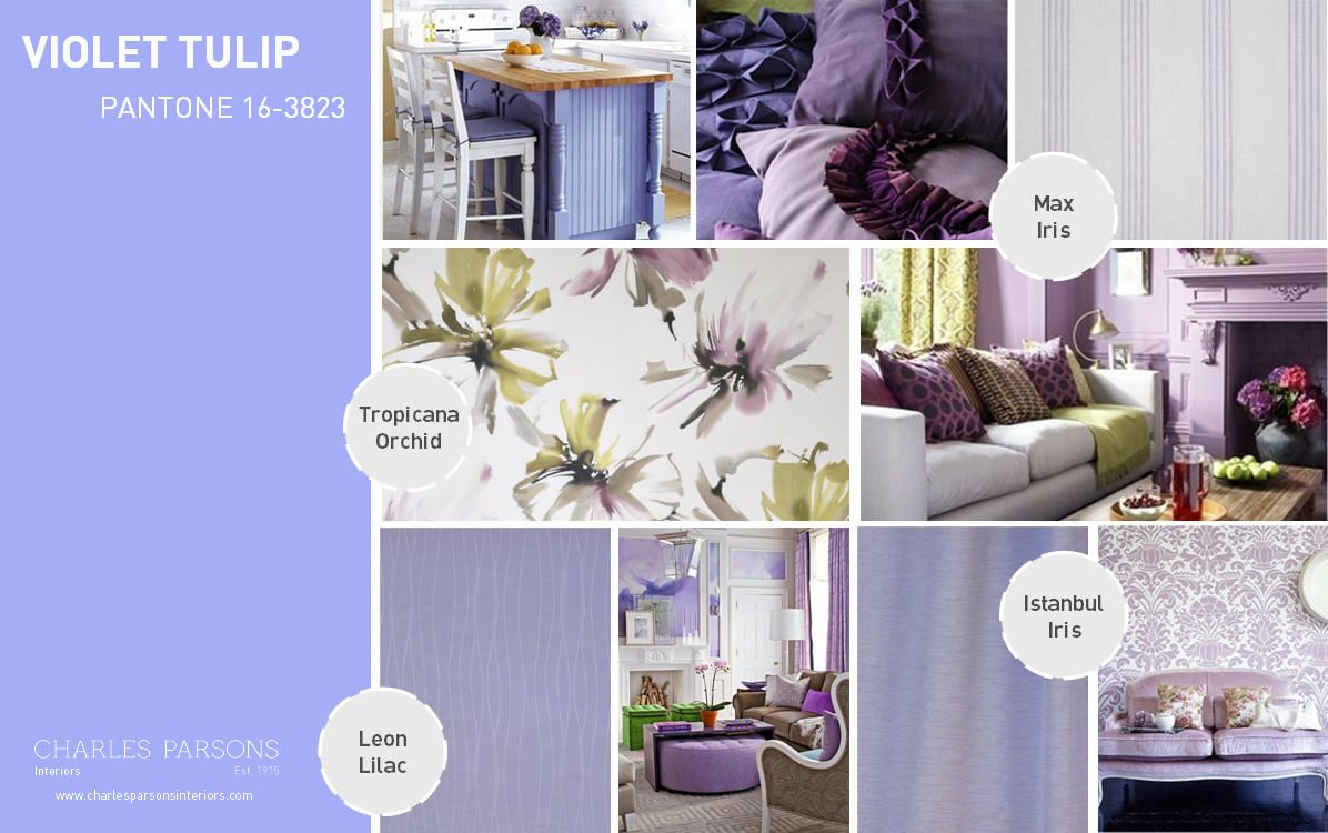 Longing for lilacs?  Perhaps a touch of Pantone Spring 2014 interior decor inspiration Violet Tulip can bring those lovely blooms indoors.