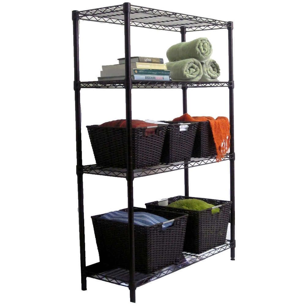 Storage Rack Metal Wire Steel Frame 4 Tier Shelves Organization ...