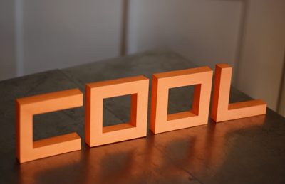 Build 3D paper letters from a nifty font  on http://www.dafont.com/punched-out.font