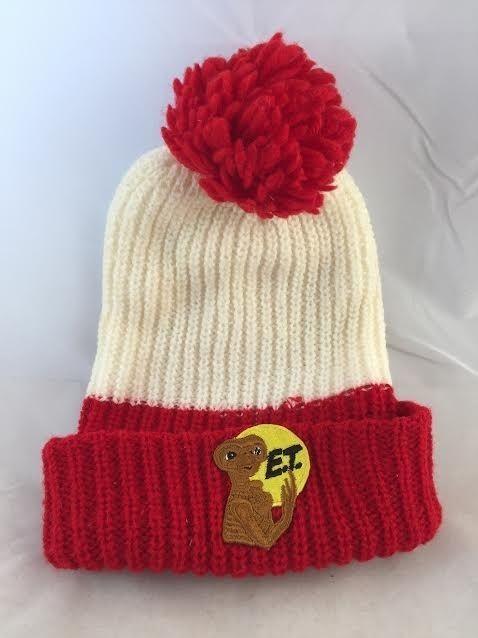 571c86c102e VINTAGE 80s E.T. Knit Beanie Stocking Cap 1982 Extra Terrestrial Pom Pom Hat   UniversalStudios