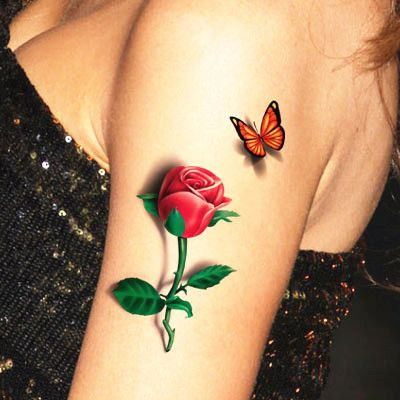 Red Butterfly Rose 3d Temporary Tattoo Body Art Flash Tattoo