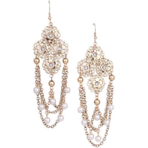 Gold Cara Drape Flower Earrings
