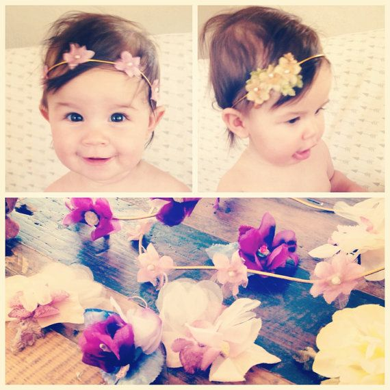 Boho Baby Headband baby flower crown bohemian by PennyandtheHawk
