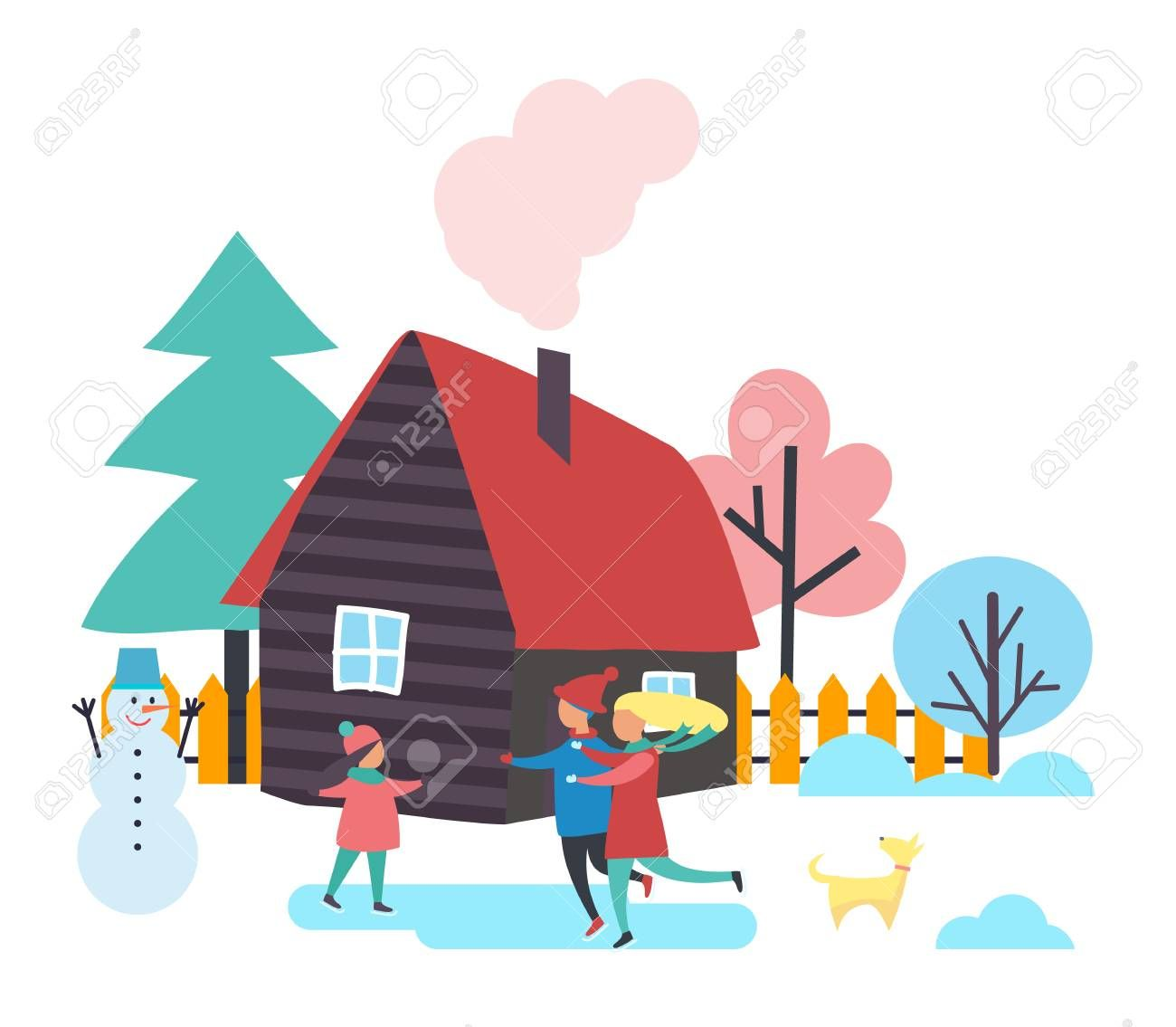Trees And Houses Winter Season People Spending Time Outdoor Vector Family Of Mother Father And Child Skati Kids Logo Design Space Art Minimalist Logo Design