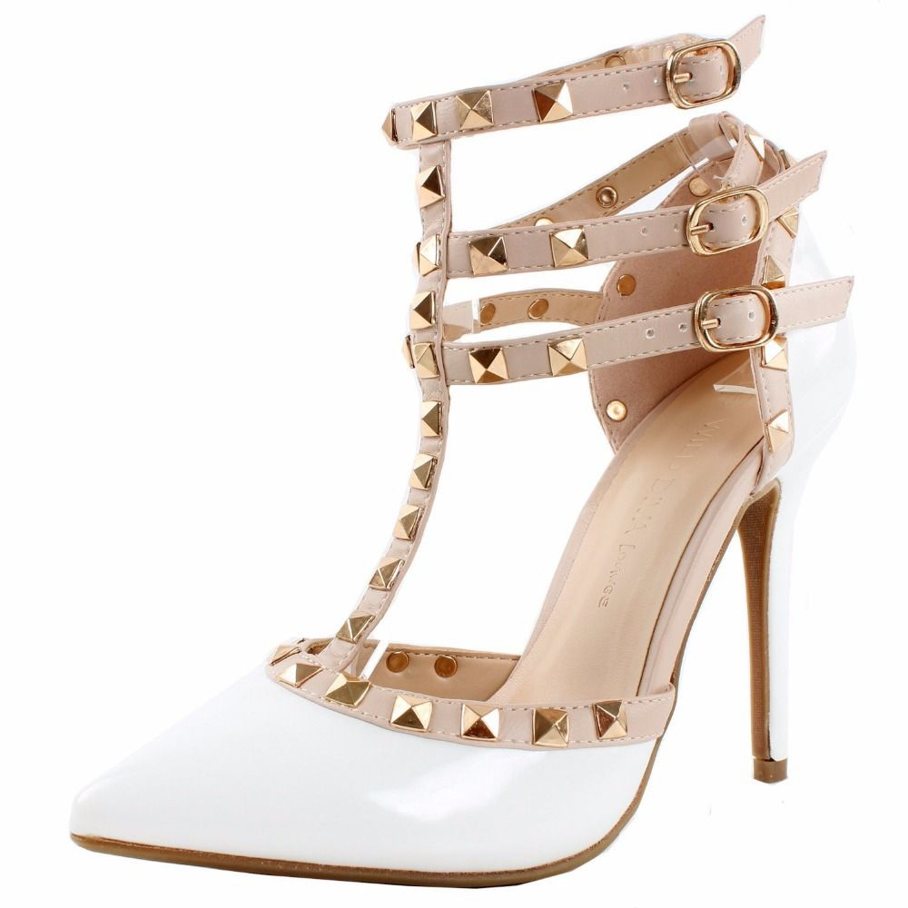 Womens Pointed Toe Rivet Studded Stiletto T-Strap Ankle Strap High Heels Sandals Yellow 9 M US