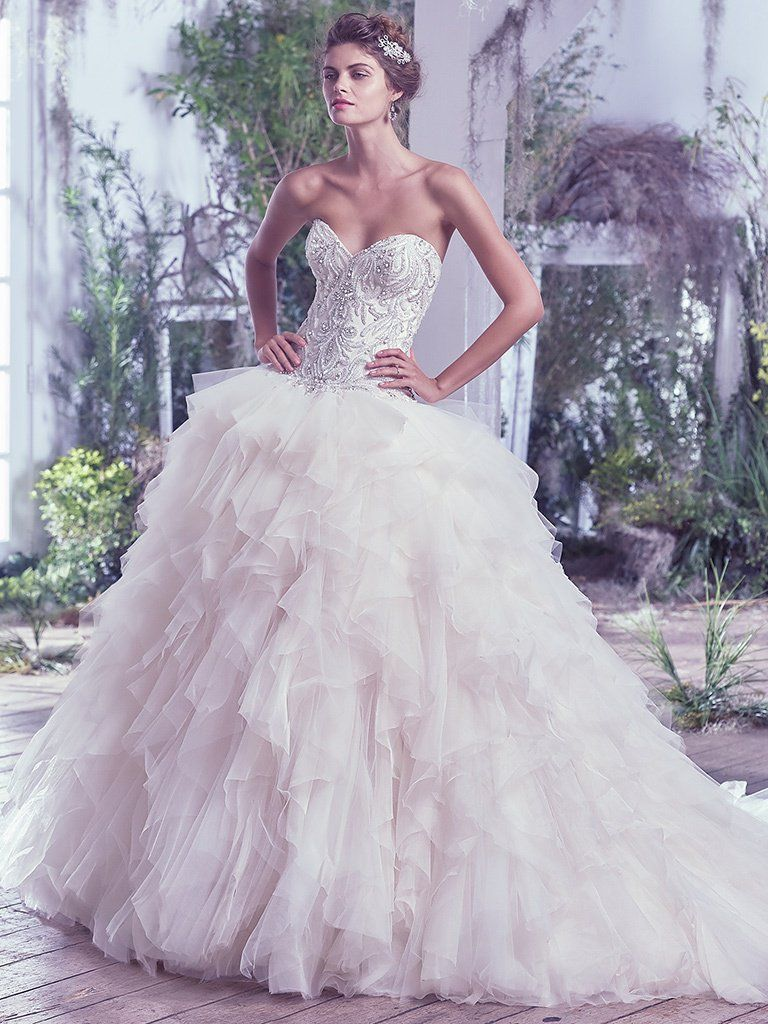 Beaded ball gown wedding dress  Maggie Sottero Wedding Dresses  Fitted bodice Maggie sottero and