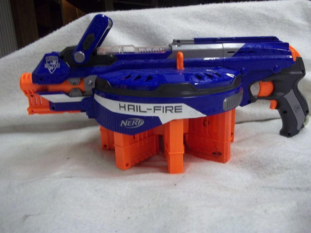 Nerf n-strike elite hail-fire blaster dart gun w/ 8 magazine clips