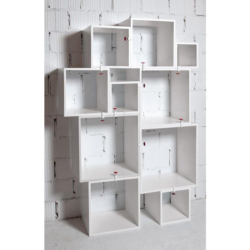 Modern Seletti Assemblage Nesting Modular Bookcase Wall Unit 10 Pieces Modular Shelving Shelving Unit Bookcase Wall Unit