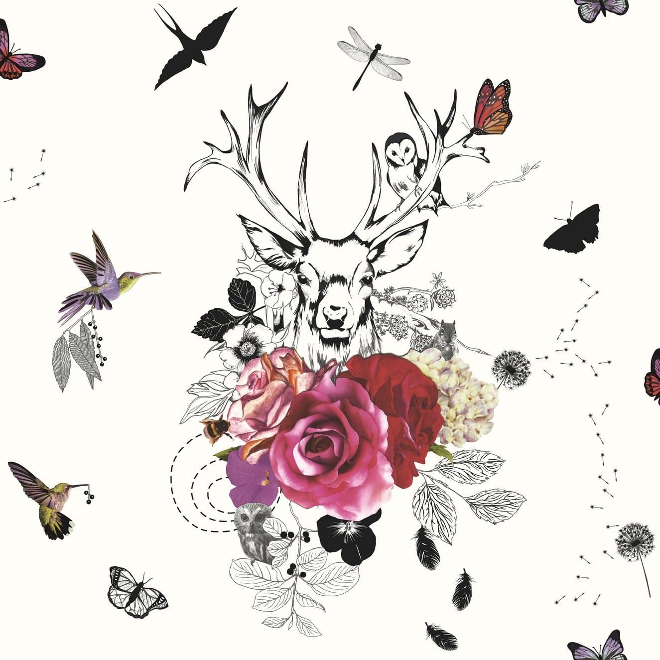 A fantasy woodland theme featuring a majestic stag accompanied by
