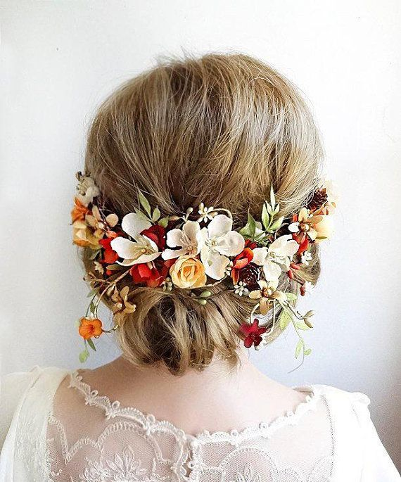 Fall bridal hair clip Autumn wedding headpiece Rustic hair flower Burnt orange hair piece Country wedding clip Fall bridal hair piece