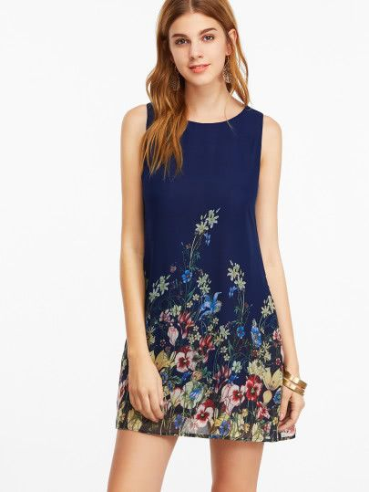 Navy Buttoned Keyhole Back Flower Print Sleeveless Dress Women Cheap Dresses Printed Casual Dresses Casual Dresses