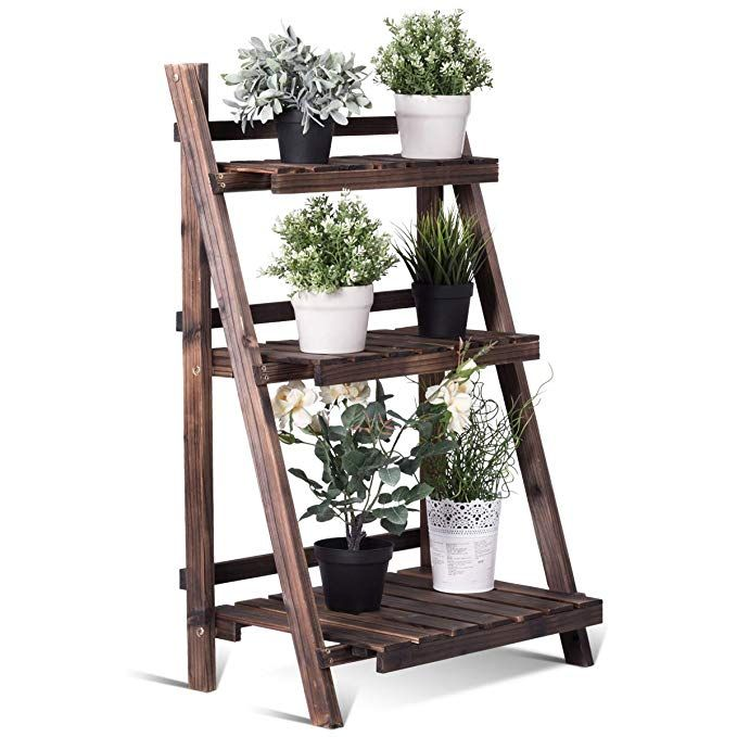 Giantex 3 Tier Folding Wooden Plant Stand With P*T Shelf 400 x 300