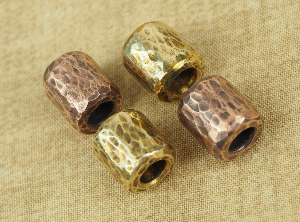Handcrafted Hammered Bead For Paracord Or Leather Lanyards Brass