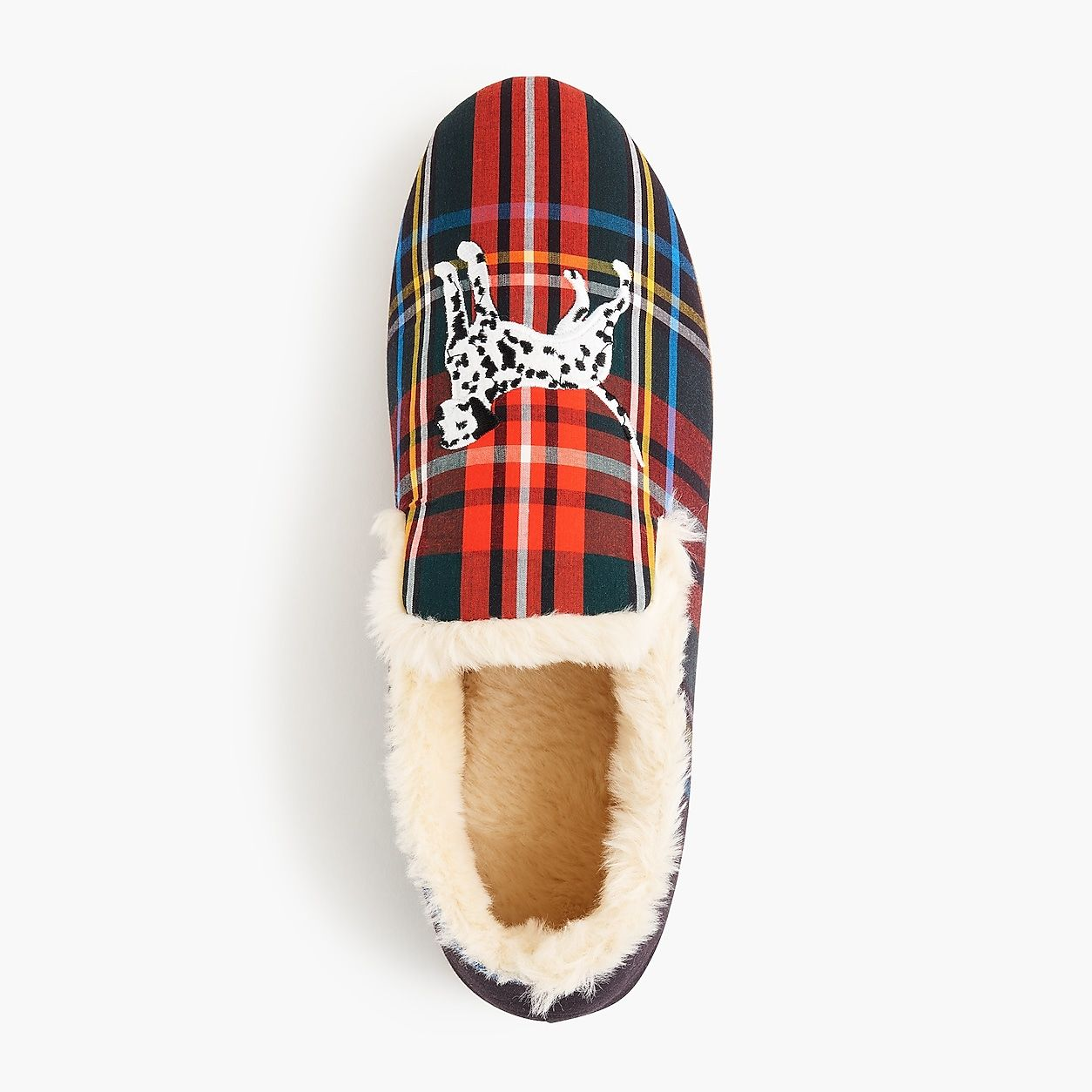 41fb8223297dcb Embroidered Loafer Slippers In Tartan