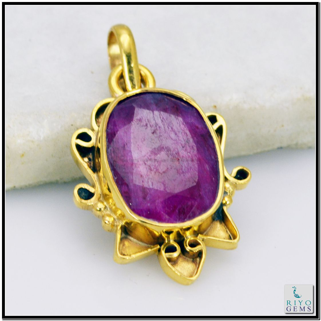 Indian Ruby Gem 18 C Yellow Gold Plated Jasmine Pendants L 1.5in Gppiru-3412 http://www.riyogems.com