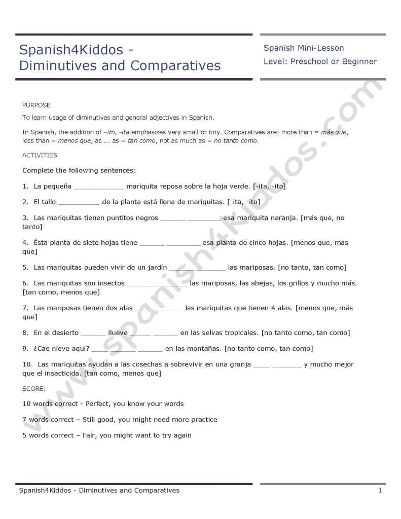 Worksheets High School Spanish Worksheets spanish diminutives worksheets and diminutives