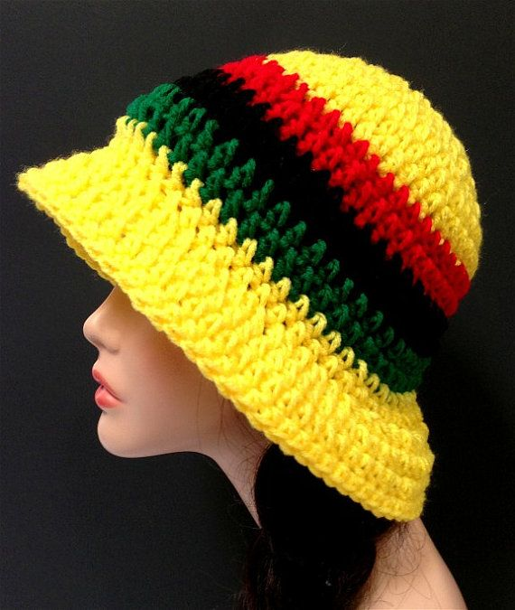 RASTA RED GOLD GREEN KNITTED TAM HAT WITH GREEN RIBBING /& RED LOOP ON TOP