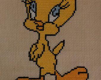 Tweety Bird is a cross stitch using yellow DMC on flesh Aida cloth. The whole bird is bordered with black DMC emphasizing the bird. - Edit Listing - Etsy
