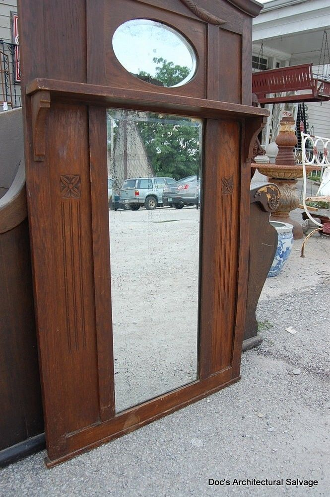 Antique Early 20th Century Beveled Mirror Wood Frame Shelf Vintage ...