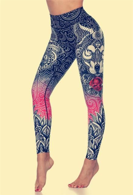 Original Wolf Print Leggings Women Yoga Pants Gym Leggings Fitness Sports Wear Elastic Tight Yoga Le...