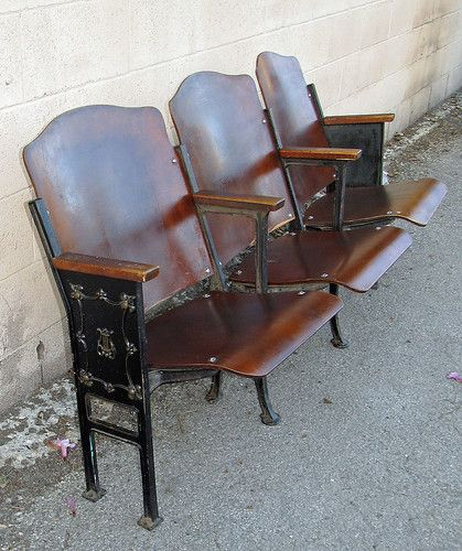 Antique Vintage Cast Iron Wood Theater Seats Folding 3pc