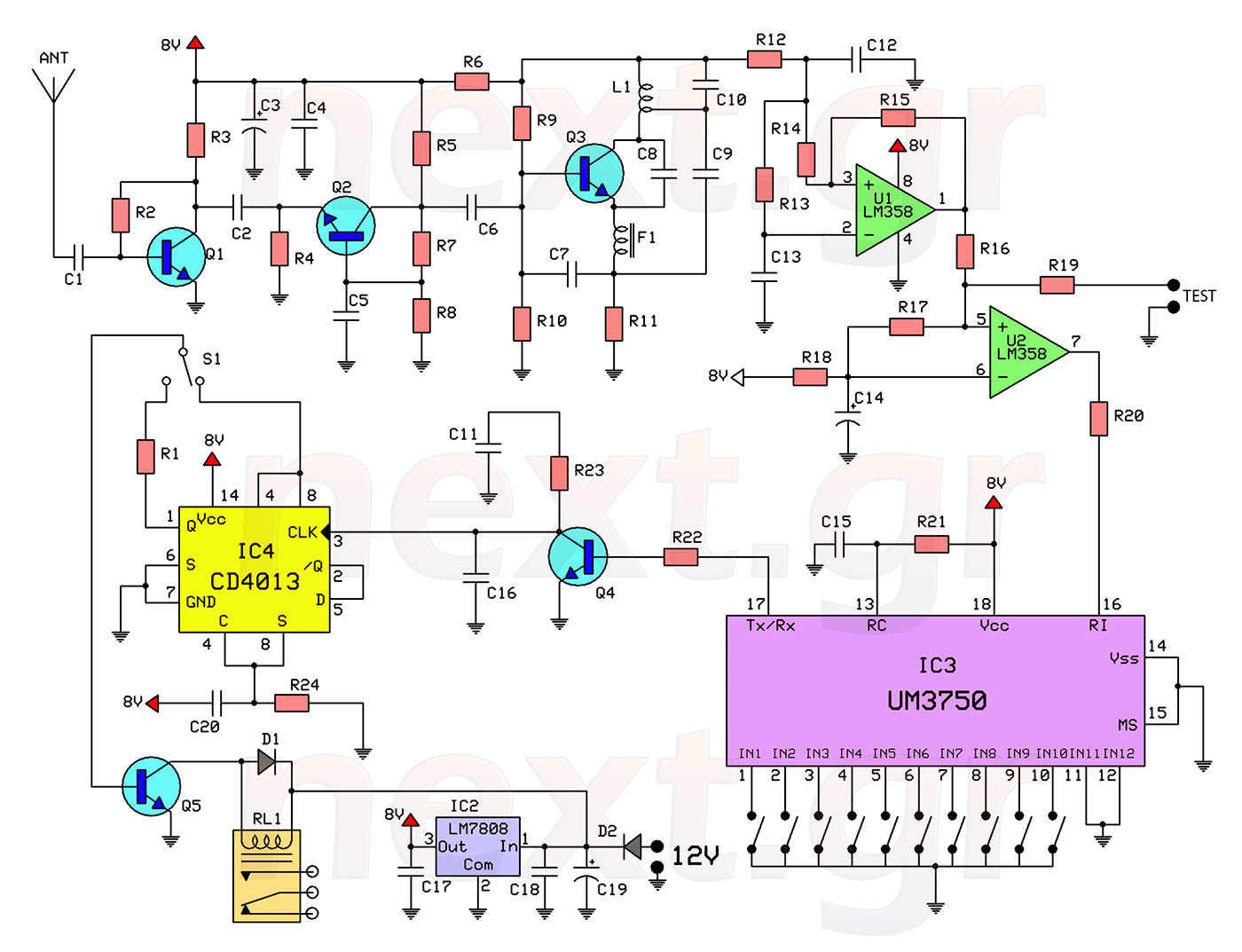 Rf Remote Control Switch Rx Tx Circuits Schematic Tech Band Stop Filter Electronic And Diagramelectronics