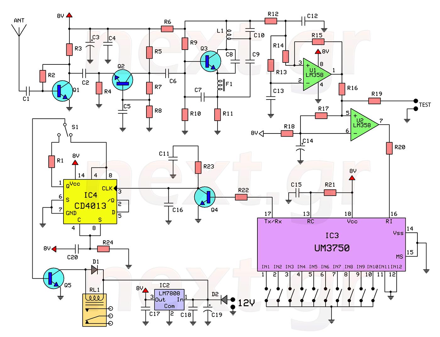 rf remote control switch rx tx circuits schematic tech remote rf remote control circuit diagram electronic circuits pinterest [ 1400 x 1073 Pixel ]