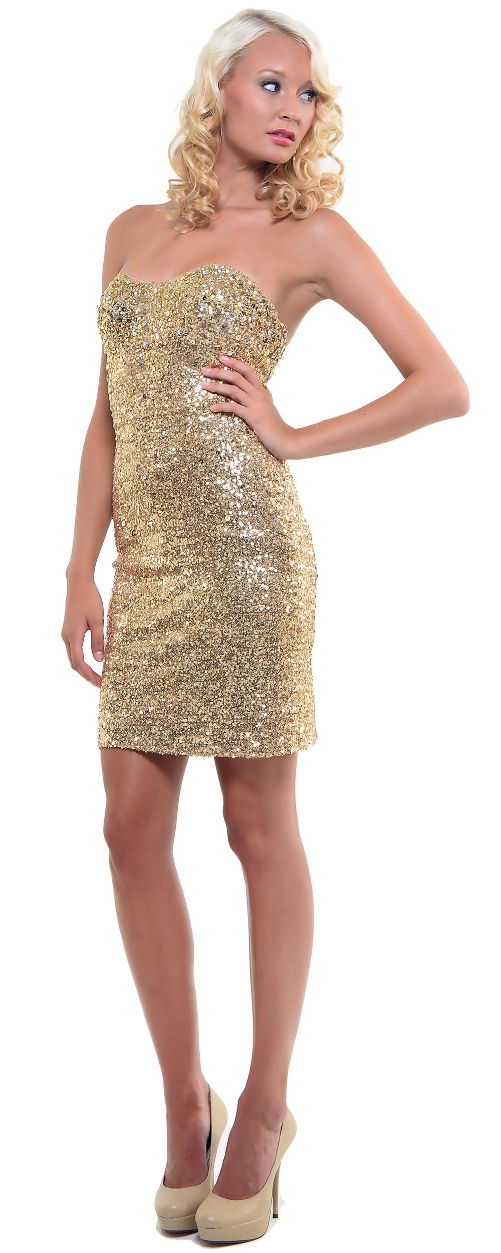 Unique Cocktail Dresses Short Gold