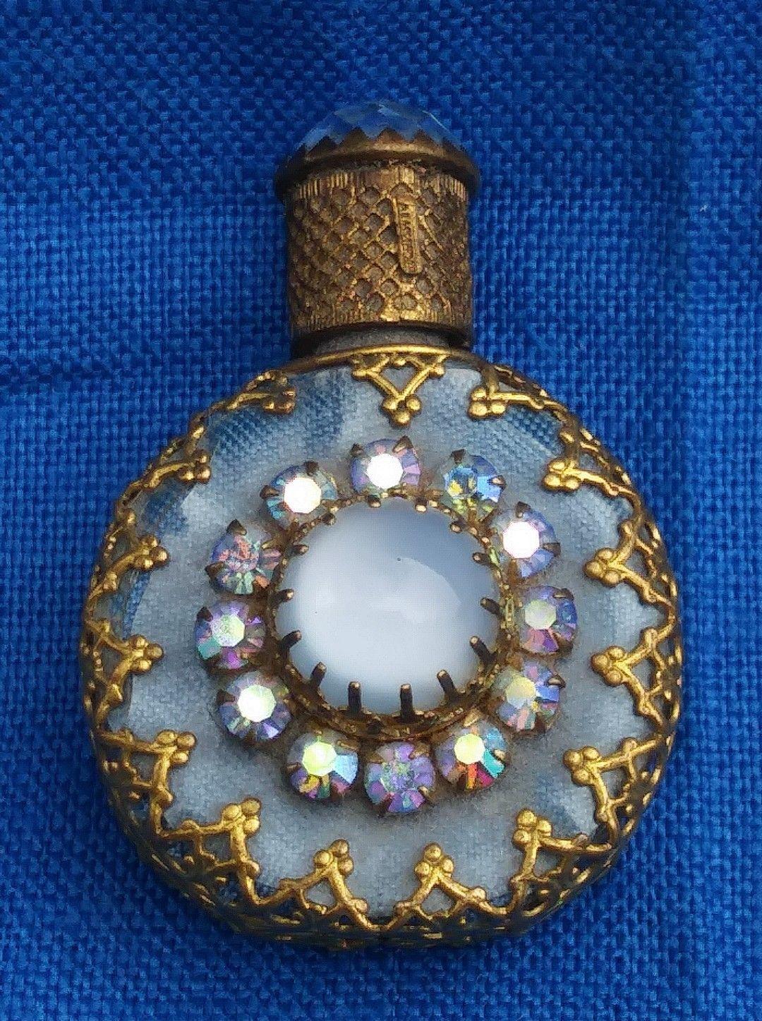 Vintage Mini Glass Perfume Bottle & Dauber Gold Filigree Rhinestone & Crystal