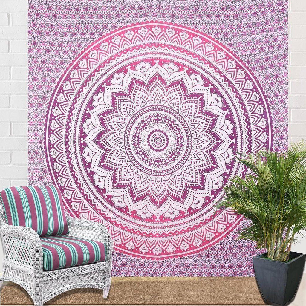 Pink Wall Tapestry pink ombre tapestry indian bohemian mandala tapestry wall hanging