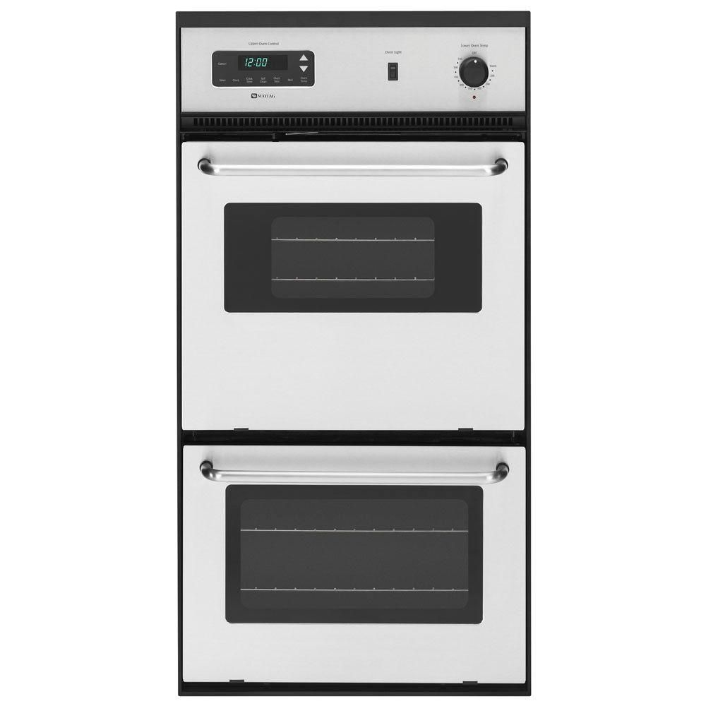 Maytag 24 In Double Electric Wall Oven Self Cleaning In Stainless