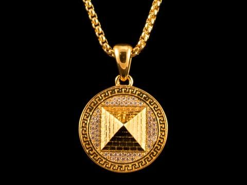 Paved 3D Pyramid Charm & Necklace