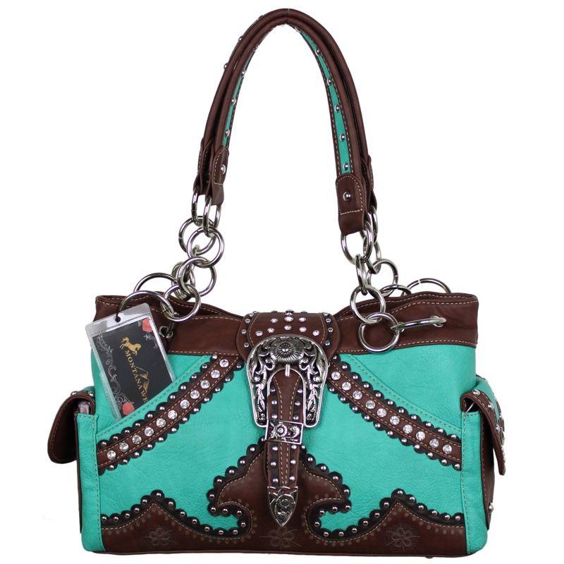 montana west purses   Turquoise Montana West Buckle Chain Handbag