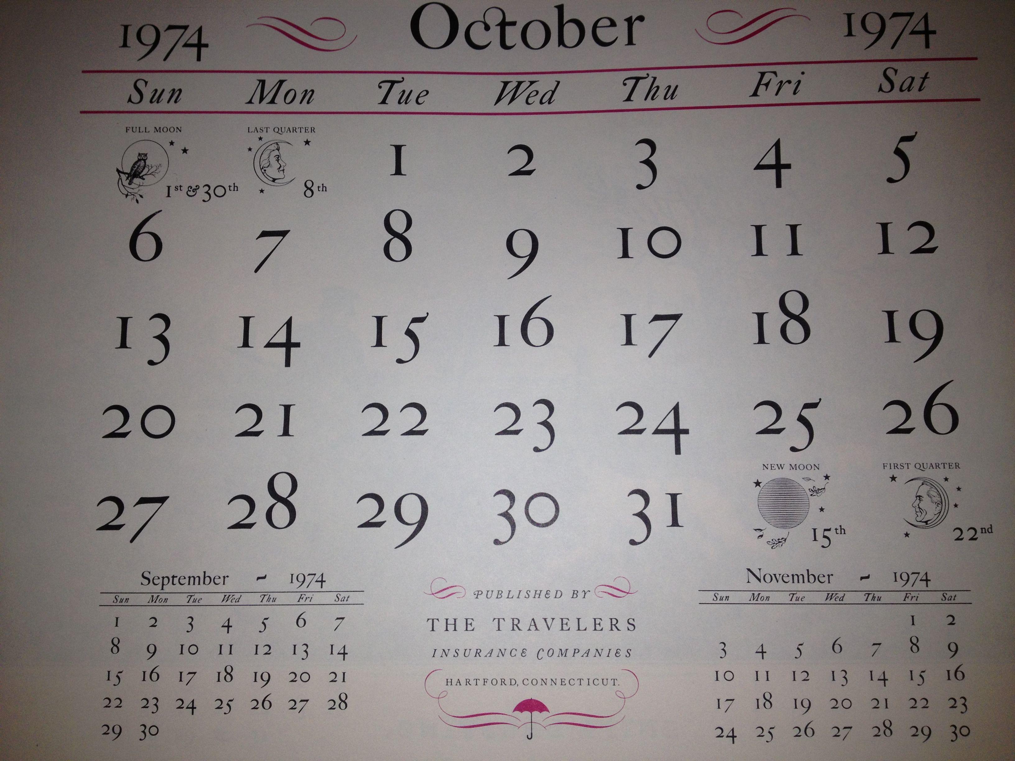October 1974 Travelers Insurance Company Calendar Company