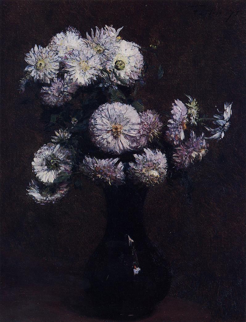 Black and Purple   Henry Fantin-Latour, Chrysanthemums Flowers