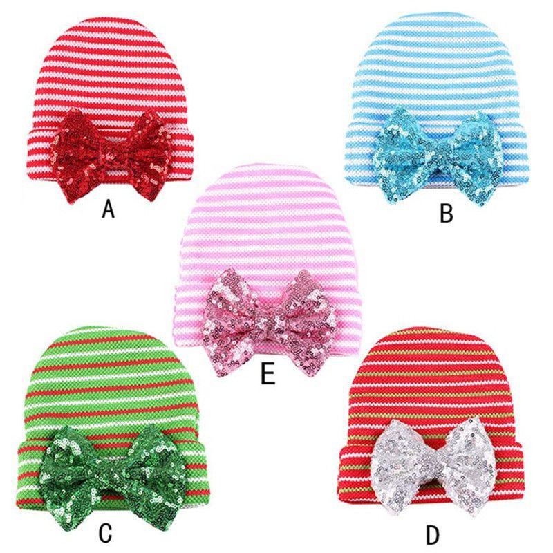 8dbcedd00b68f Sale 19% (3.59 ) - Xmas Newborn Infant Toddler Winter Autumn Warm Girls Baby  Stripe Bowknot Beanie Cap Head Hair Accessories Hat