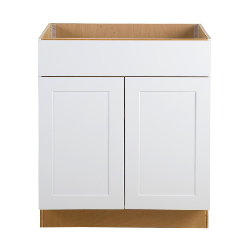 Cambridge Embled 30x34 5x24 5 In All Plywood Sink Base Cabinet With False Drawer Front White