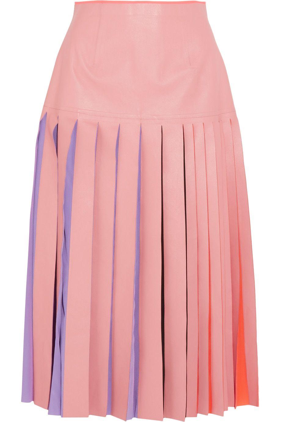 ROKSANDA Lamley Pleated Silk Georgette-Trimmed Leather Skirt. #roksanda #cloth #skirt