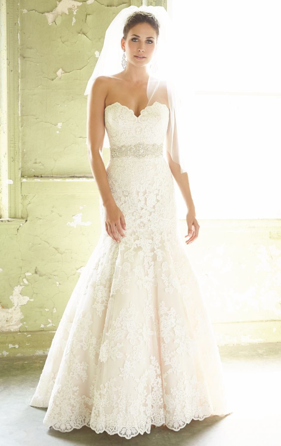 Strapless lace mermaid gown by allure bridals allure bridal