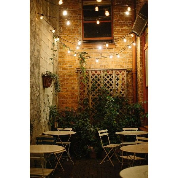 Create A Backyard Cafe With Bistro Lights Liked On Polyvore Featuring Home And Outdoors Outdoor Restaurant Patio Backyard Cafe Rustic Cafe