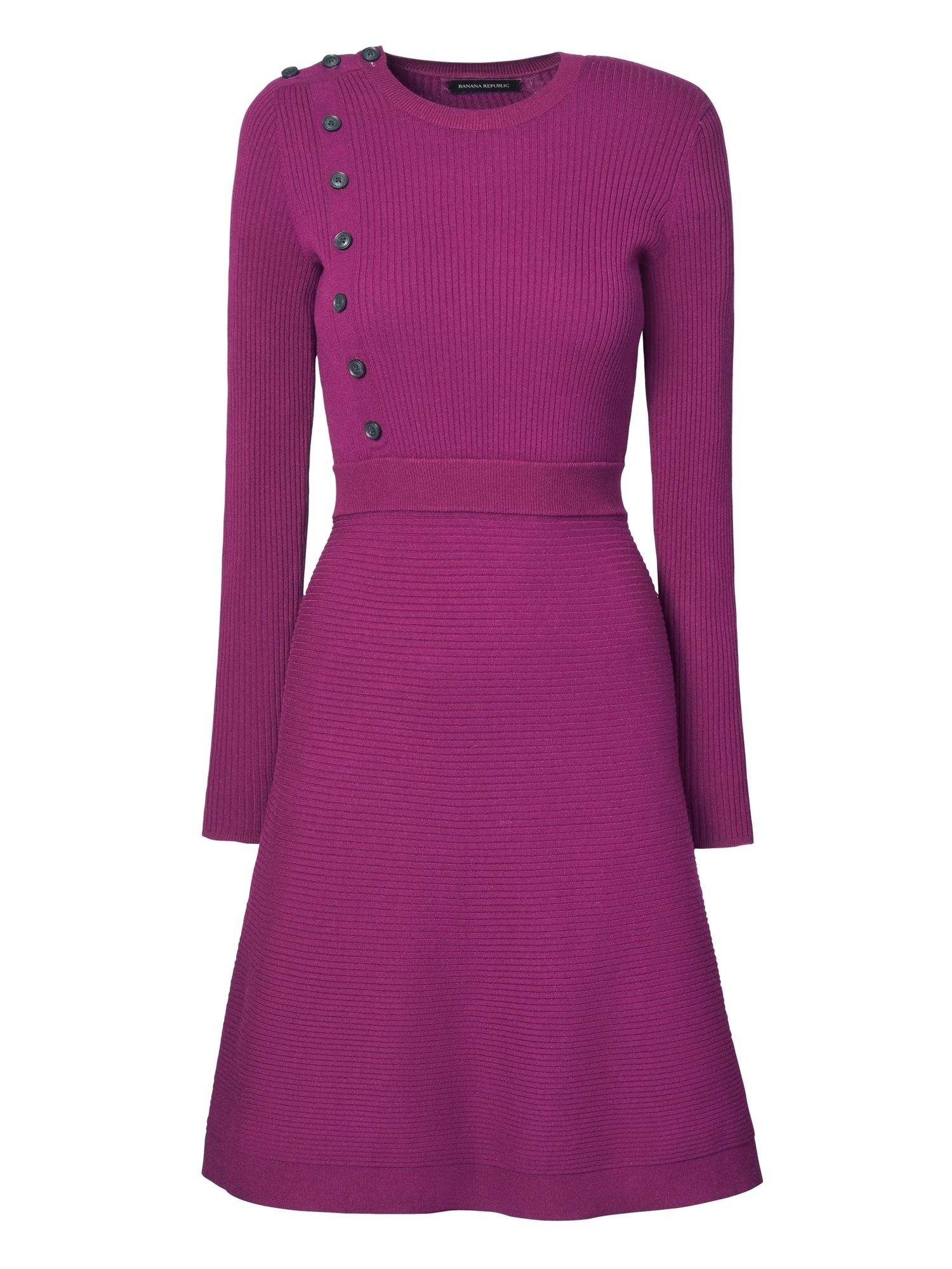 Button-Front Ribbed Sweater Dress | Banana Republic