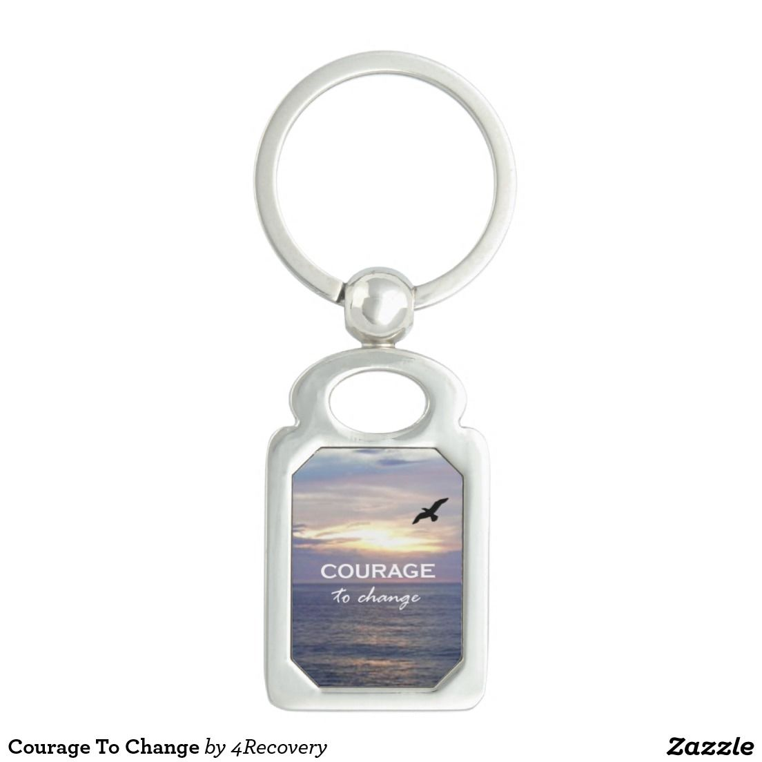 Courage To Change Silver-Colored Rectangular Metal Keychain