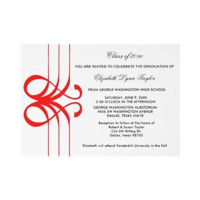 Red Scroll Edge Graduation Announcement by decembermorning